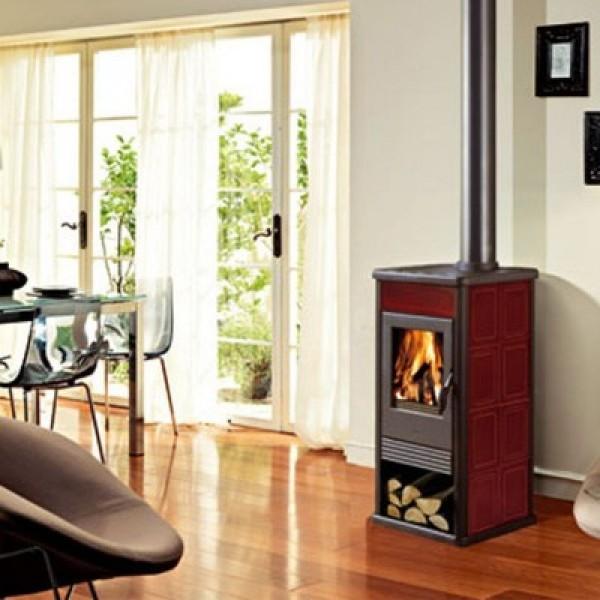 Ενεργειακή σόμπα ξύλου αερόθερμη GIULIA 7,2Kw κόκκινη EDILKAMIN 434600