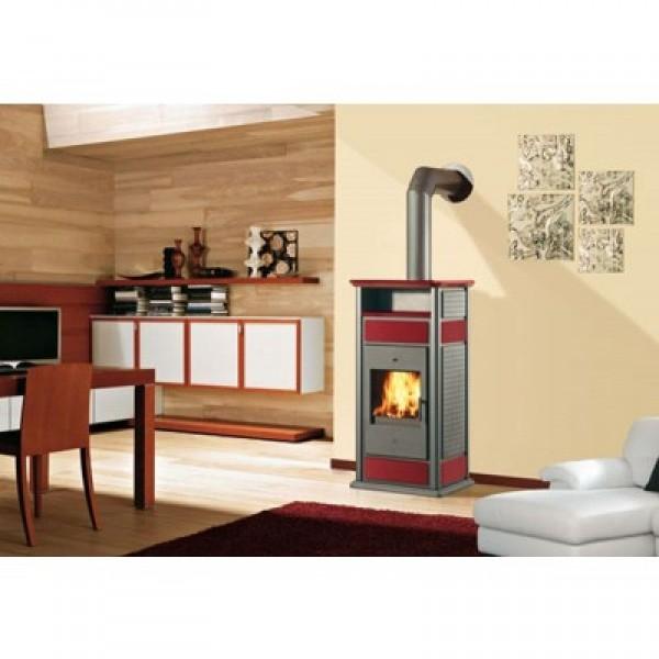Ενεργειακή σόμπα ξύλου για σύνδεση με καλοριφέρ WARM ΜΕ ΦΟΥΡΝΟ CS 14,5Kw κόκκινη EDILKAMIN 624750