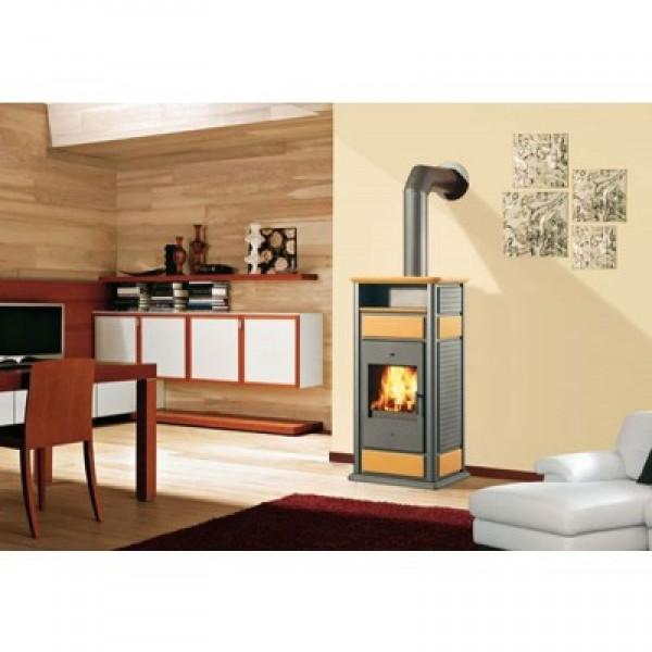 Ενεργειακή σόμπα ξύλου για σύνδεση με καλοριφέρ WARM ΜΕ ΦΟΥΡΝΟ 19,7Kw κεχριμπαρί EDILKAMIN 293900